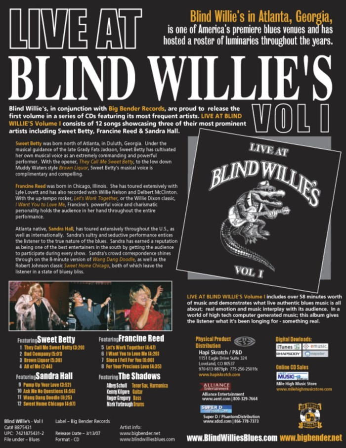 Blind WIllie's sheet